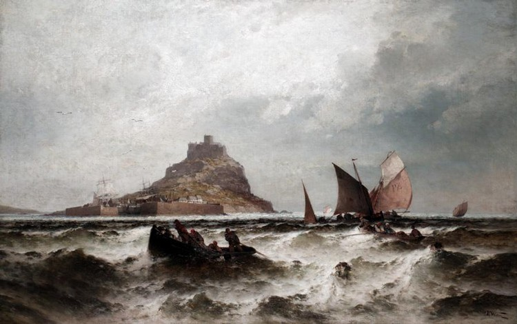 THEODOR WEBER, 1838-1907 FISHING SMACKS AT SEA IN FRONT OF ST MICHAEL'S MOUNT, CORNWALL