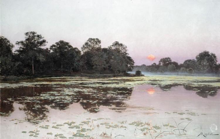 ALBERT-GABRIEL RIGOLOT, FRENCH 1862-1932 RIVER LANDSCAPE AT SUNSET
