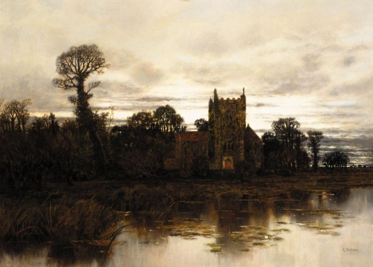 KARL HEFFNER GERMAN, 1849-1925 CHURCH AT DUSK