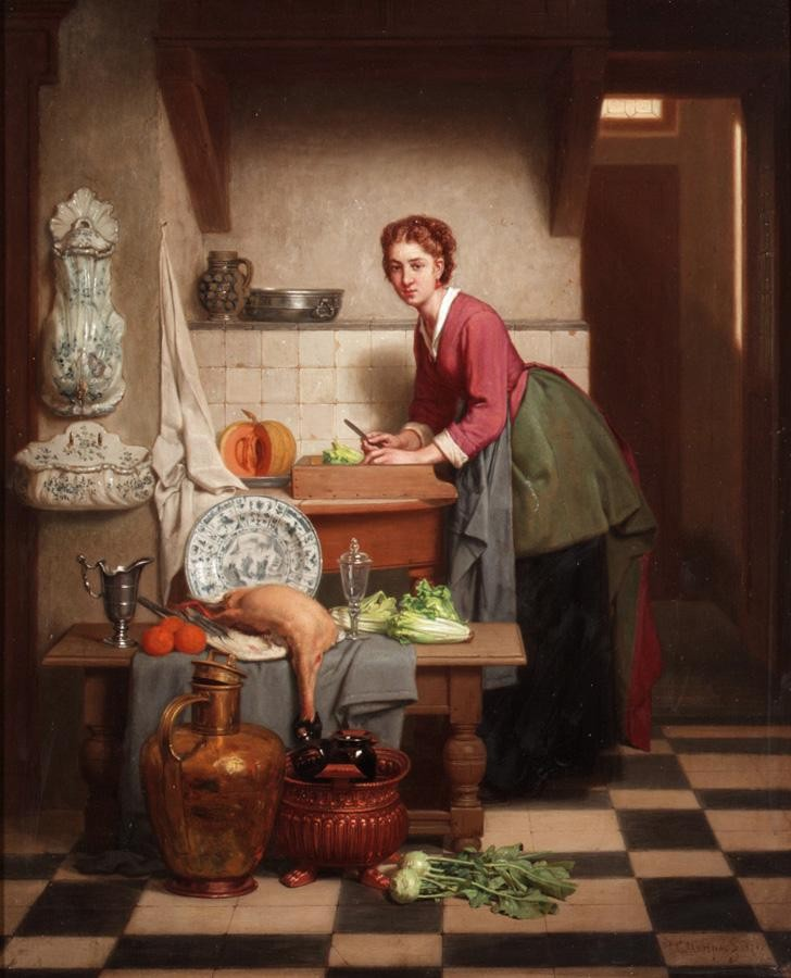 CHARLES JOSEPH GRIPS, BELGIAN 1825-1920 A WOMAN PREPARING VEGETABLES