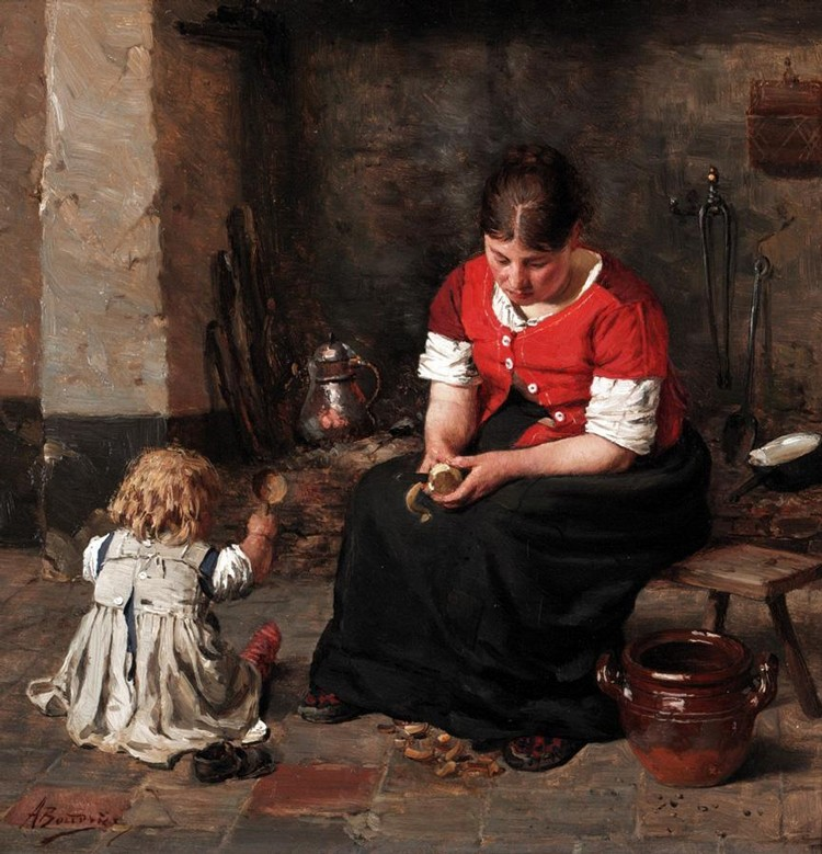 ALOIS BOUDRY 1851-1938 PREPARING VEGETABLES
