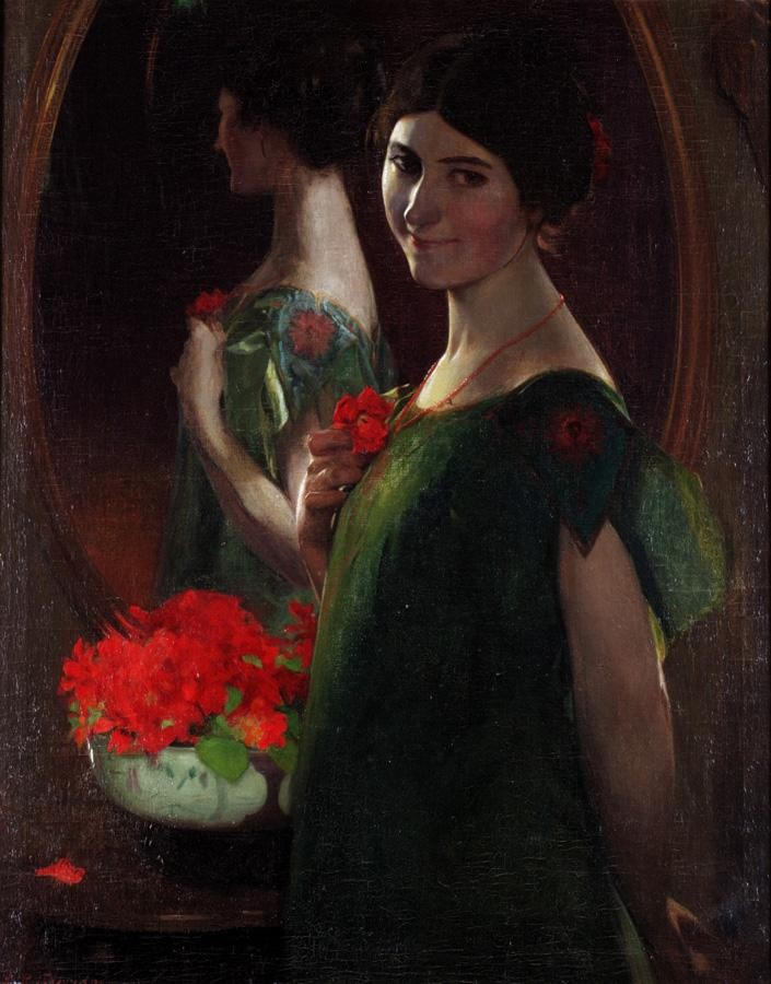 LEANDRO RAMON GARRIDO, SPANISH 1868-1909 LADY IN FRONT OF A MIRROR