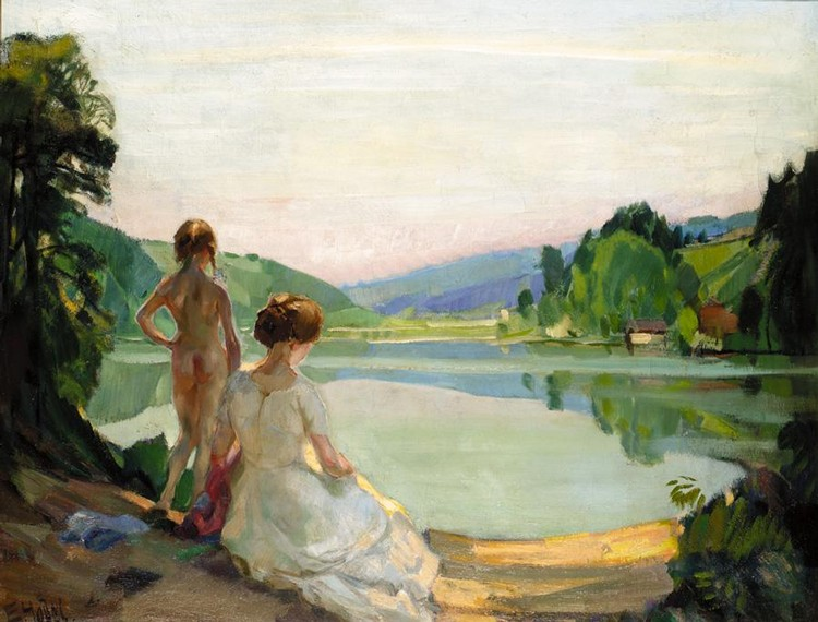 ERNST HODEL, SWISS 1881-1955 SUMMER EVENING