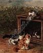 ALFRED ARTHUR BRUNEL DE NEUVILLE, FRENCH 1851-1941 NAUGHTY KITTENS, Arthur Alfred Brunel