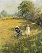 ROWLAND WHEELWRIGHT, R.B.A., 1870-1955 PICKING FLOWERS, Roland Wheelwright, Click for value