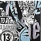 Faile , Studio B Test in Black in Blue #3 oil on canvas,  Faile, Click for value