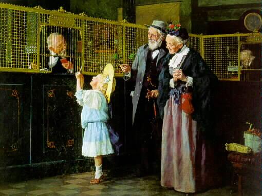 Louis Charles Moeller 1855 - 1930 HER FIRST SAVINGS Signed Louis Moeller, NA/Copyright 1909 (lr)