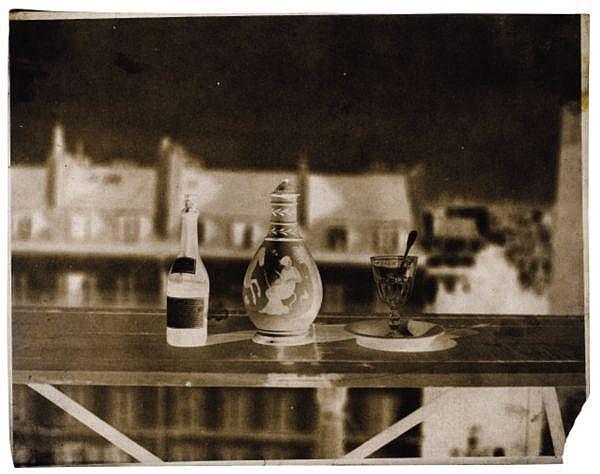 John Beasley Greene (1832-1856) , Nature morte au verre, flacon grec et bouteille, années 1850