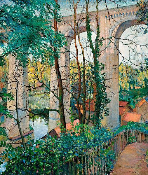Charles Meere , Australian 1890-1961 BRIDGE SCENE Oil on canvas