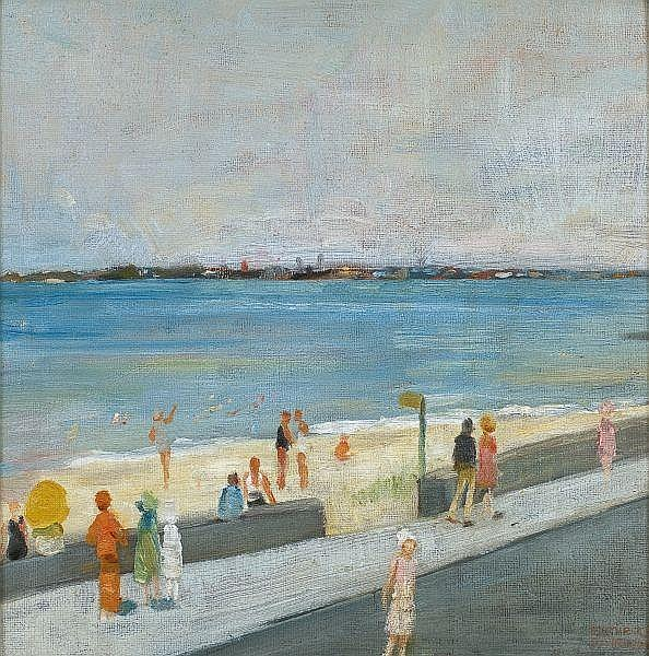 - Esther Paterson , Australian 1892 - 1971 ST KILDA BEACH, MIDDLE PARK Oil on canvas on board