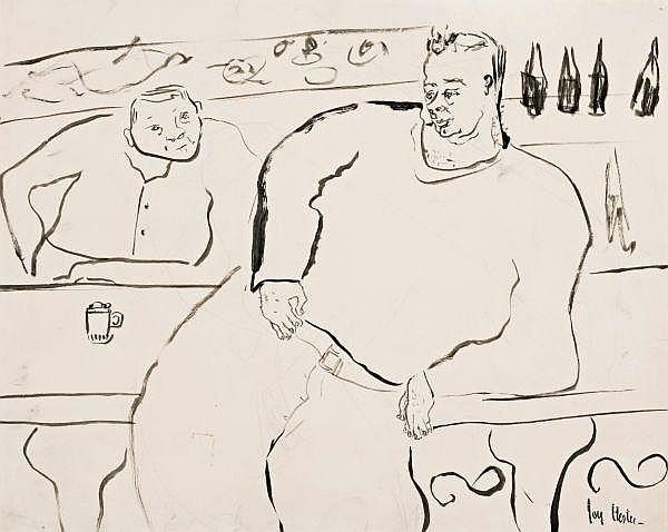 Joy Hester , Australian 1920 - 1960 AT THE BAR Watercolour on paper