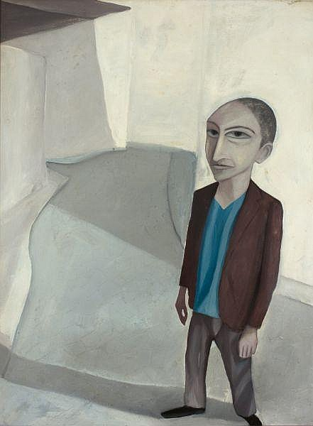 Robert Dickerson , Australian b.1924 BOY IN STREET   Enamel paint on composition board