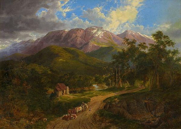 Nicholas Chevalier , Swiss 1828 - 1902 THE BUFFALO RANGES Oil on canvas