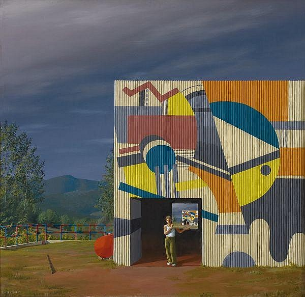 Jeffrey Smart , Australian b.1921 THE PAINTED FACTORY, TUSCANY Oil on canvas