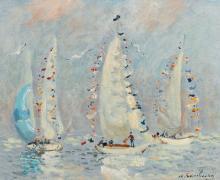 ANDRÉ HAMBOURG | Les yachts pavoisés, Deauville