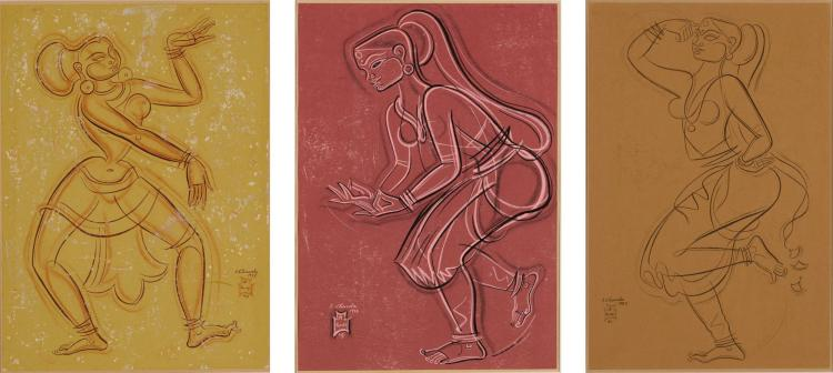 SHIAVAX CHAVDA   Untitled (Set of Three Dancers)