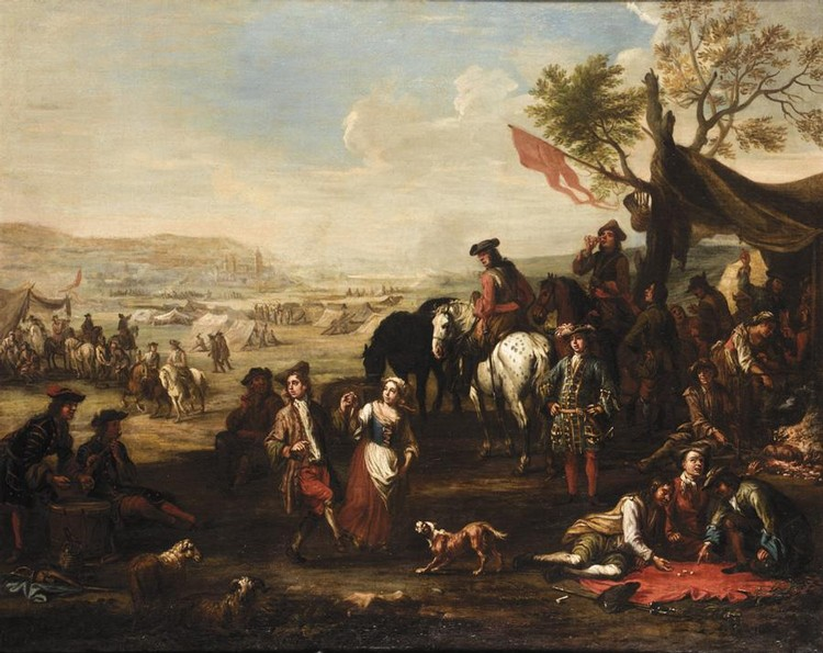 CHRISTIAN REDER LEIPZIG 1656 - 1729 ROME MILITARY ENCAMPMENT WITH SOLDIERS DRINKING, PLAYING DICE