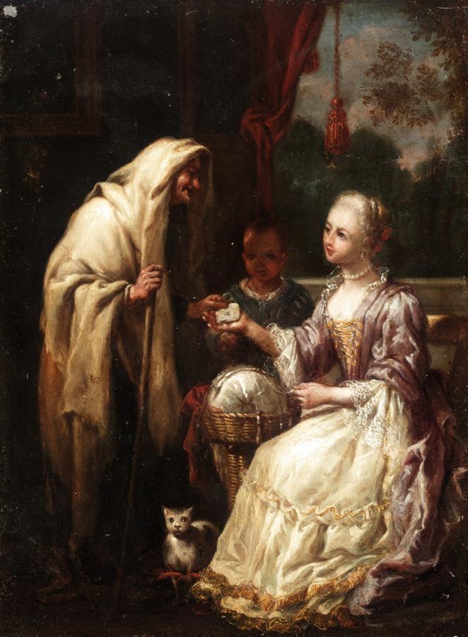 ANTONIO MERCURIO AMOROSI COMUNANZA, NR ASCOLI PICENO 1660 - 1738 INTERIOR WITH A FORTUNE TELLER