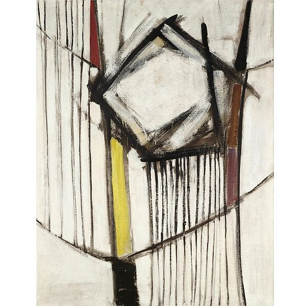 Sir Terry Frost, R.A. , 1915-2003 red, black and white, winter 1956 oil on board
