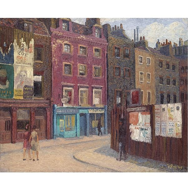 m - Frederick Gore , b. 1913 charlotte street oil on canvas