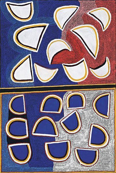 Boxer Milner Tjampitjin born circa 1934 YAKARN-THE MOON synthetic polymer paint on linen