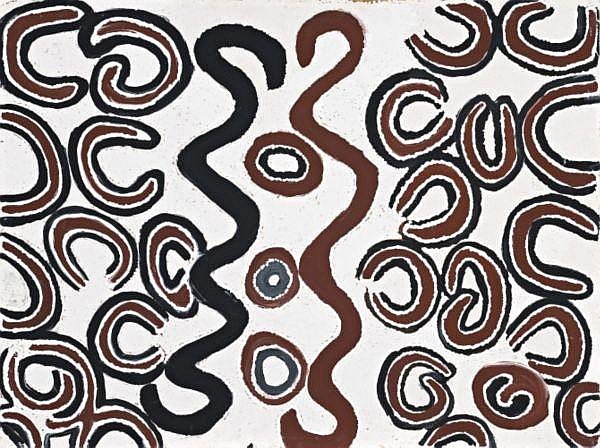 Billy Thomas circa 1920   GULARABUN (WATERHOLE COUNTRY) natural earth pigments and synthetic binder on canvas