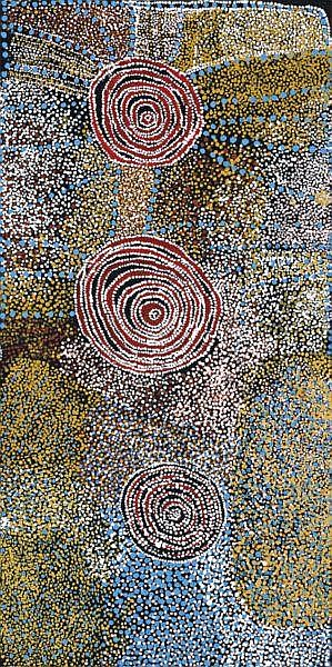 Bill Whiskey Tjapaltjarri circa 1920 ROCKHOLES NEAR AYERS ROCK   synthetic polymer paint on linen