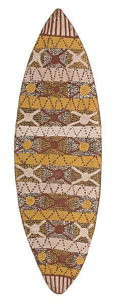 Lame Toby Mungatopi 1920-deceased BUSH-FRUIT natural earth pigments on eucalyptus bark