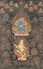 A NAGTHANG DEPICTING PANJARA MAHAKALA AND BRAHMANARUPA MAHAKALA  TIBET, 18TH / 19TH CENTURY |