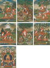 A SET OF SEVEN THANGKAS DEPICTINGBUDDHA SHAKYAMUNI, THE EIGHTEEN ARHATS AND THE FOUR GUARDIAN KINGS CENTRAL TIBET, EARLY 19TH CENTURY |