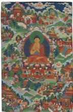 A THANGKA DEPICTING BUDDHA SHAKYAMUNI WITH SCENES FROM THE AVADANA LEGEND TIBET,19TH CENTURY |
