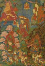 A THANGKA DEPICTING ARHATS AND GUARDIAN KINGS TIBET, 18TH CENTURY |