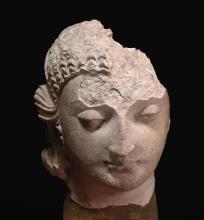 A STUCCO HEAD OF BUDDHA ANCIENT REGION OF GANDHARA, KUSHAN PERIOD, 5TH CENTURY |