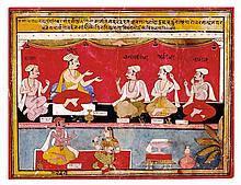 THE FIVE JEWELS OF KING LAKSHMANSENA FROM AN UNRECORDED GITA GOVINDA MANUSCRIPT<BR />ATTRIBUTABLE TO SAHIBDIN   THE FIVE JEWELS OF KING LAKSHMANSENA FROM AN UNRECORDED GITA GOVINDA MANUSCRIPT<br />ATTRIBUTABLE TO SAHIBDIN