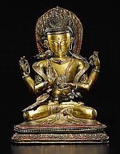 A GILT-COPPER REPOUSSÉ FIGURE OF AVALOKITESHVARA NEPAL, CIRCA 16TH CENTURY |