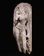 A MARBLE FIGURE OF SURASUNDARI AS APSARAS OR YAKSHI INDIA, CHALNKYA, WESTERN RAJPUTANA OR GUJARAT, 11TH / 12TH CENTURY |
