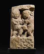 A SANDSTONE STELE DEPICTING TWO GANAS NORTH CENTRAL INDIA, GUPTA PERIOD, 5TH/6TH CENTURY |