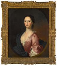 STUDIO OF ALLAN RAMSAY   Portrait of Mary Stuart (d. 1739), half-length, wearing a pink dress and a blue cloak