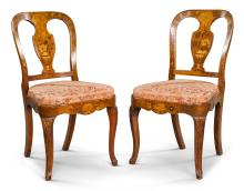 A PAIR OF DUTCH WALNUT AND MARQUETRY SIDE CHAIRS CIRCA 1830 |