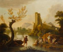 ENGLISH SCHOOL, 18TH CENTURY   Figures alighting from a small vessel in aMediterranean harbour; Women washing on the banks of a river, a bridge beyond