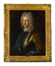ALEXIS-SIMON BELLE   Portrait of Alexander, 4th Lord Forbes of Pitsligo (d. 1762), half length, wearing armour and a blue cloak