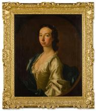 ALLAN RAMSAY   Portrait of Clementina Maria SophiaWalkinshaw (1726-1802),half-length, wearing a white dress, a blue cloak, and pearls in her hair