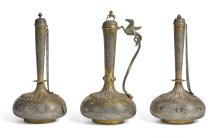 A GARNITURE OF THREE INDIAN SILVERED METAL AND BRASSVESSELS, THIRD QUARTER 19TH CENTURY |