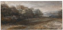 ATTRIBUTED TO PIETER DE WITH | An upland landscape with a castle on a hill