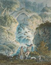 G. CARFRAE | A Sportsmen and an old man at the foot of a waterfall