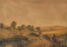 PETER DE WINT, O.W.S. | Wooburn village with figures resting by a path