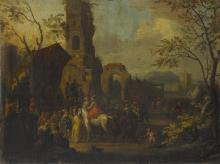 CIRCLE OF FRANZ DE PAULA FERG | A village scene with figures performing a play