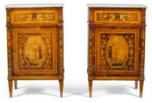 A PAIR OF NORTH ITALIAN NEOCLASSICAL ROSEWOOD, WALNUT AND MARQUETRY BEDSIDE CABINETS CIRCA 1800 |