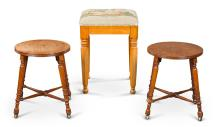 A VICTORIAN SATIN BIRCH AND NEEDLEWORK COVERED STOOL BY D. HUGHES, DATED 1847  