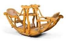 A LATE VICTORIAN BEECH AND CANE CHILD'S SEESAW, CIRCA 1895 |